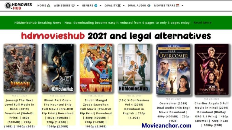 hdmovieshub 2021 and legal alternatives- Download 300mb, 720p Bollywood movies online free